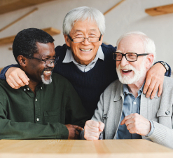 elderly men smiling